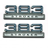 Chrome, Blue & Black 383 Stroker Fender Emblems - Universal Fitment
