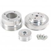 1986-1993 Mustang 5.0 Polished Aluminum Underdrive Pulleys w/ Bullett Alternator Cover