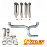 Pypes Diesel Truck Dual Stacks Miter Cut Exhaust Kit w/ Y Pipe