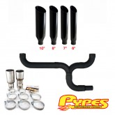 Pypes Diesel Truck Dual Stacks Miter Cut Exhaust Kit w/ Y Pipe - Black