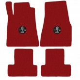 2013-2014 Mustang 4pc Red Floor Mat Set w/ Circle Shelby GT500 Logo