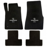 2011-2012 Mustang 4pc Black Floor Mat Set w/ Cobra GT500 Logo Embroidery