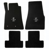 2005-2010 Mustang 4pc Black Floor Mat Set w/ Cobra & GT500 Logo Embroidery