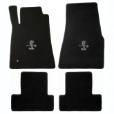 2011-2012 Mustang 4pc Black Floor Mat Set w/ Cobra & GT500 Logo Embroidery