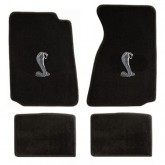 1994-2004 Ford Mustang Black 4pc Floor Mat Set - Cobra Snake Logo Embroidery