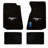 1994-2004 Ford Mustang 4pc Black Floor Mat Set - Silver Running Horse Logo Embroidery