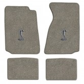 1994-2004 Ford Mustang Gray 4pc Floor Mat Set - Cobra Snake Logo Embroidery