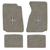 1994-2004 Ford Mustang 4pc Gray Floor Mat Set - Tribar Running Horse Logo Embroidery