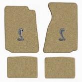 1994-2004 Mustang Parchment 4pc Floor Mat Set w/ Cobra