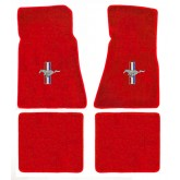 1979-1993 Ford Mustang 4pc Red Floor Mat Set - Tribar Running Horse Logo Embroidery
