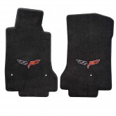 2007-5 - 2013.5 C6 Corvette Ebony Black Floor Mat Set with Crossed Flags Embroidery