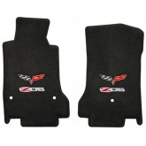 2007-5 - 2013.5 C6 Corvette Ebony Black Floor Mats with Flags & Z06 Logo Embroidery