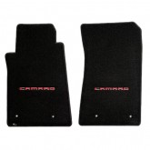 2010-2015 Chevy Camaro Ebony Front Floor Mats with CAMARO Logo Embroidery