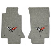 1997-2004 C5 Chevrolet Corvette Grey Front Floor Mats with Crossed Flags Logo Embroidery