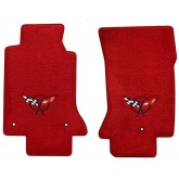 1997-2004 C5 Chevrolet Corvette Torch Red Front Floor Mats with Crossed Flags Logo Embroidery