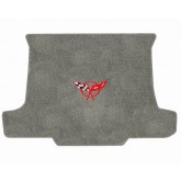 1997-2004 C5 Corvette Grey Convertible Cargo Trunk Mat with Crossed Flags Logo Embroidery