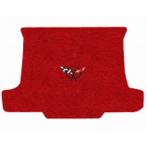 1997-2004 C5 Corvette Torch Red Convertible Rear Cargo Trunk Mat with Crossed Flags Logo Embroidery