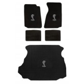 1994-1998 Ford Mustang Black Floor & Trunk Mat 3pc Set with Cobra Logo