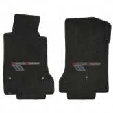 2010-2013 Corvette Grand Sport Ebony Front Floor Mats with Gray Embroidered Logo