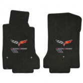 2010-2013 Corvette Grand Sport Ebony Front Floor Mats with Flags & Gray GS Logos