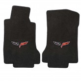 2005-2007.5 Corvette C6 Ebony Front Floor Mats with Crossed Flags Logo Embroidery