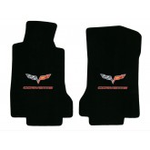 2007-5 - 2013.5 C6 Corvette Ebony Black Floor Mats with Flags & Red CORVETTE Embroidery