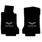 2007.5-2013.5 C6 Corvette Front Floor Mats w/ Crossed Flags and Corvette Logo Embroidery
