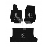 2014-2017 Corvette C7 Convertible Front Rear 3pc Black Mat Set - Jake Skull & Stingray Logos