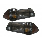 1987-1993 Mustang Smoked 6-Piece Headlights Set w/ Parking & Amber Side Markers