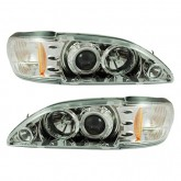 1994-1998 Ford Mustang Chrome Halo Projector Headlights - Pair