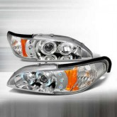 1994-1998 Ford Mustang Dual Halo LED Projector Headlights - Chrome