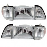 1987-1993 Ford Mustang Stock Euro Clear Headlights with Amber Side Markers - 6pc Set
