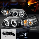 1999-2004 Ford Mustang Dual Halo Projector Headlights with Black Projector