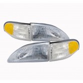 1994-1998 Ford Mustang Stock Headlights & Amber Side Markers