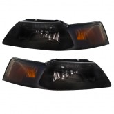 1999-2004 Mustang or Cobra Ultra Smoked Black Headlights w/ 55/65W Xenon Bulbs