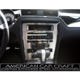 2010-2014 Mustang GT & 5.0 Brushed Stainless Center Dash Trim Plate w/ Polished Rings