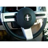 2005-2009 Ford Mustang Billet Chrome Lower Steering Wheel Badge - Plain