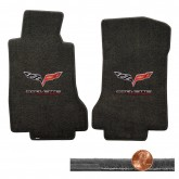 2005 2006 C6 Corvette Ebony Black Velourtex Floor Mats - Flags & Racing Logos