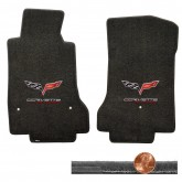 2008-2012 C6 Corvette Ebony Black Velourtex Floor Mats - Flags & Racing Logos