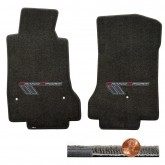 2008-12 C6 Corvette Ebony Black Ultimat Floor Mats - Gray Grey Grand Sport Logos