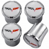 C6 Corvette Crossed Racing Flags Logo 4pc Chrome & White Valve Stem Caps