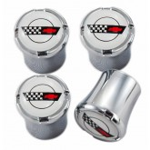 C4 Corvette Racing Flag Logo 4pc Chrome & White Valve Stem Caps