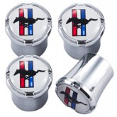 Ford Mustang Running Horse & Tri-Bar Logo 4pc Chrome & White Valve Stem Caps