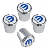 "Mopar Chrome & Blue ""M"" Logo Emblem Valve Stem Caps"