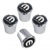 "Mopar Chrome w/ Black ""M"" Logo Emblem Valve Stem Caps"