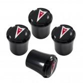 Pontiac Chrome Black & Red Dart Logo Emblem Valve Stem Caps