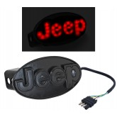 """Jeep Rear Black 2"""" Tow Hitch Receiver Cover Red LED Light Up Emblem"""