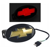 "Chevy Bowtie Rear Gold 2"" Tow Hitch Receiver Cover Red LED Light Up Emblem"