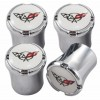 C5 Corvette Crossed Flags Logo 4pc Chrome & White Valve Stem Caps