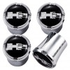 2003-2009 Hummer H2 Logo 4pc Chrome & Black Valve Stem Caps